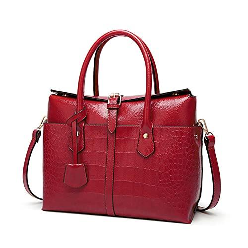MIMITU Bolso de mano informal de cuero de PU vintage para mujer, bolsos de marca famosa para mujer, bolsos de hombro para mujer, bolso de mujer rojo vino, 30 cm * Longitud máxima * 50 cm