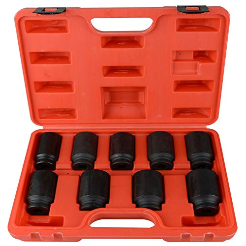 9pcs Deep Impact Socket Set 1/2' Drive Metric Axle Hub Nut Socket 29-38mm for Removing and Mounting Axle Nuts