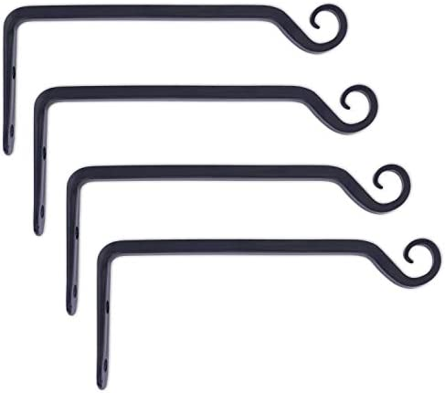 Gray Bunny Hand Forged Straight Hook 10 Inch Black Set of 4 for Bird Feeders Planters Lanterns product image