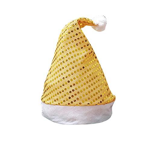 BIKETAFUWY Weihnachtsmütze Nikolausmütze Weihnachtsmann Mütze lila mit Pailletten und Pelzrand Dekorationen Geschenk Partymütze Weihnachtsfeier Hut