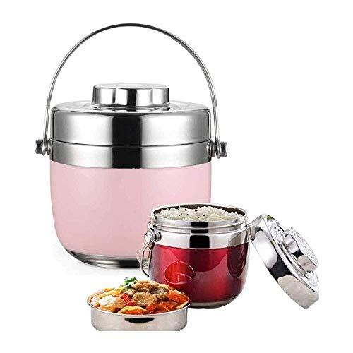 Caja de almuerzo 1.5L Contenedor de alimentos a prueba de fugas portátil, botella de sopa de alimentos de aislamiento térmico, caja de almuerzo de acero inoxidable para almacenamiento de alimentos al