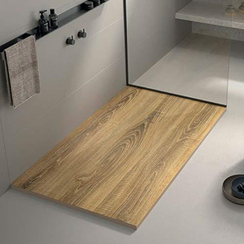 Plato de ducha de piedra mineral fundida en 3D, aspecto de madera con revestimiento de gel – diferentes tamaños (190 x 90 x 3 cm)