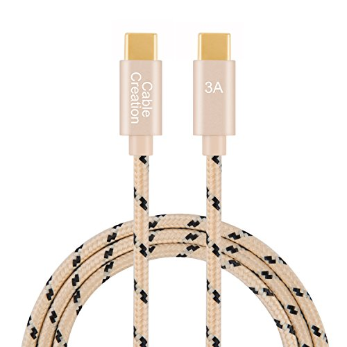 USB C to USB C Cable 6.6 Feet, CableCreation Cotton Braided USB 2.0 Type C to Type C Data and 3A Fast Charging Cable, Compatible with MacBook(Pro), Galaxy S10/S9/S9+, Pixel XL 2, etc(Khaki)