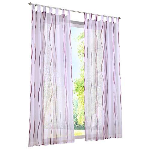 ESLIR Gardinen mit Schlaufen Vorhänge Gardinenschals Transparent Schlaufenschal Wellen Muster Voile Violett BxH 140x225cm 1 Stück