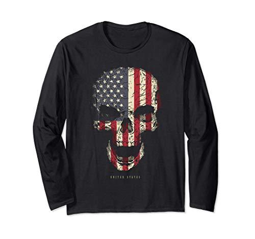 Calavera con Bandera de Estados Unidos USA Skull Manga Larga