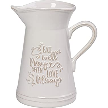 Precious Moments 173410 Ceramic Kitchen Utensil Holder Or Pitcher Inspirational Home Decor, One Size, White/Cream
