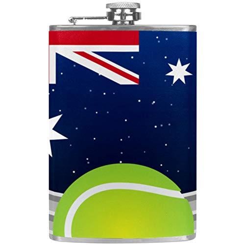 Whiskey-Flachmann mit Henkeltrichter für Camping, Angeln, Grillen, Party, Bar, Trinkflasche, australisches Tennis, britische Flagge