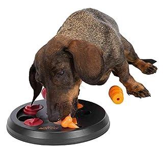 Durch verschiedene Öffnungstechniken gelangt der Hund an seine Belohnung Rutschfestes Brettspiel mit zwei Kegeln sowie Vertiefungen mit Klapp- und Schiebedeckeln Inkl. Übungsheft mit Tipps und Tricks für das optimale Training Spülmaschinen geeignet