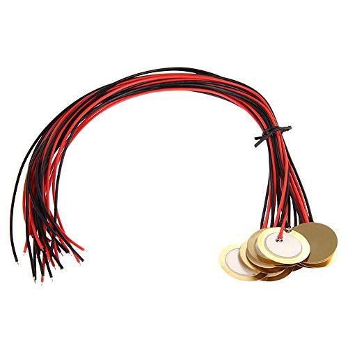 ACAMPTAR 12Pzs 27mm Discos piezoelectricos con Conductores Microfono Tambor Gatillo Fonocaptor acustico CBG Guitarra