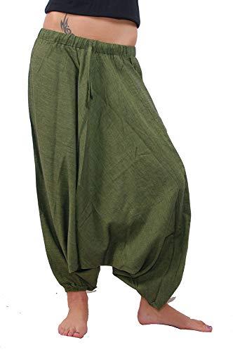 KUNST UND MAGIE Orientalische Haremshose one Size in vielen Farben, Farbe:Army Green