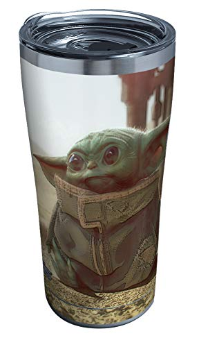 Tervis 1355711 Star Wars Mandalorian The Child Stainless Steel Insulated Tumbler with Clear & Black Hammer Lid, 20 OZ, Silver