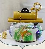N\A AY Tanque de Pescado de Agua pequeño de Escritorio, Vidrio de bambú ecológico Mini Acuario (Color : A)
