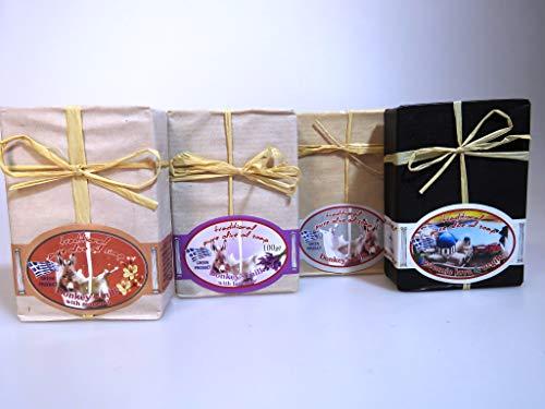 3 + 1 GRATIS griechische Olivenölseifen Eselsmilch/Magnolie/Lavendel + Lava