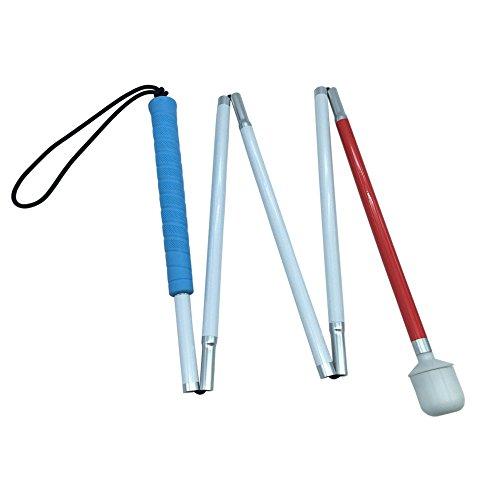 Blindenlangstock,weiße Stock,Faltlangstock mit Kautschukgriff, Kunststoff-Rollspitze,5-teilig, 6 Größen (120 cm (47.2 inch)-Blau Griff)