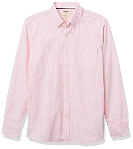 Amazon Brand - Goodthreads Men's Standard-Fit Long-Sleeve Striped Oxford Shirt w/ Pocket, Pink Bengal Stripe, Small