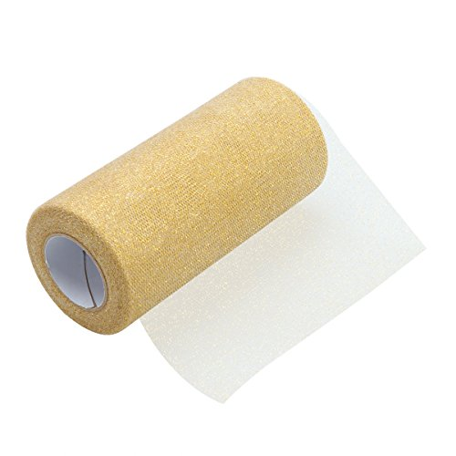 ULTNICE Glitzer Tüll Roll Schein Tüll Band Roll Tüll Spule Material 6 Zoll Gold