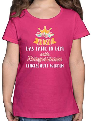 Einschulung und Schulanfang - 2020 Das Jahr in dem Prinzessinnen eingeschult Werden - 140 (9/11 Jahre) - Fuchsia - t-Shirt ich Bin 1 klasse - F131K - Mädchen Kinder T-Shirt