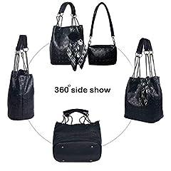 Abuyall Womens Skull Print PU Leather 2 in 1 Hobo Tote Punk Shoulder Crossbody Handbag Black #4