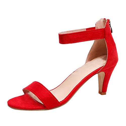 Great Deal! Women's Heeled Sandals Ankle Strap High Heels Open Toe Mid Heel Sandals Wedding Bridal P...