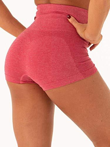 Pantalones cortos de fitness para mujer Pantalones cortos de yoga sin costura sexy gimnasio de cintura alta ropa para correr ropa deportiva deportes mujeres entrenamiento corto pantalones de color s