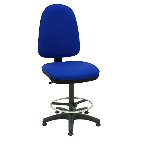Centrosilla Sgabello girevole Ufficio ergonomico Torino, con piedi fissi, tasselli, regolabile in altezza e profondità, Anello Poggiapiedi Cromato Regolabile - blu