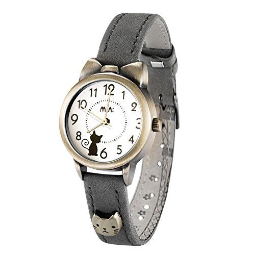 DREAMING Q&P Damen Analog Quarz Uhr mit Grau Echtleder Armband Katze Design MW234B