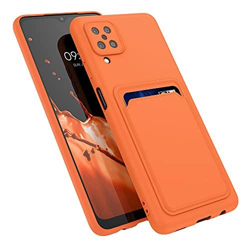kwmobile Funda con Tarjetero Compatible con Samsung Galaxy A12 - Carcasa Protectora de TPU Suave - Naranja