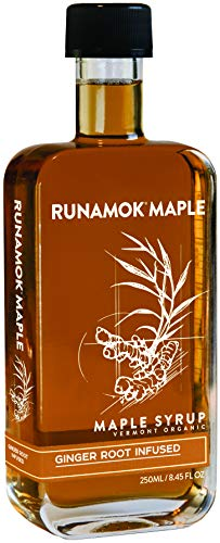 Runamok Maple Ginger Root Infused Maple Syrup - Authentic & Real Vermont Maple Syrup | Gluten Free & Natural Sweetener | Great for Cooking, Tea & Cocktails | 8.45 Fl Oz (250mL)