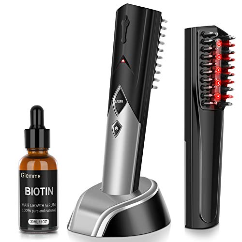 Laser Hair Growth Comb Brush with Biotin Hair Growth Serum for Hair Loss, Hair Regrowth Treatment Products for Men and Women