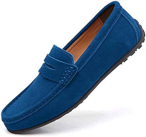 Penny Loafers for Men Slip on Shoes Suede Cow Leather Flats Moccasins...