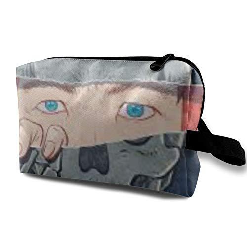Bolsa de almacenamiento de lona de maquillaje de viaje, bolso de aseo portátil, pequeño organizador de cosméticos, bolsa de monedas para niñas, mujeres y hombres, calavera de payaso