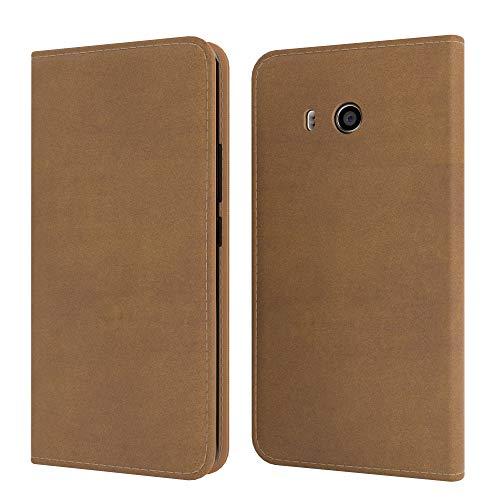EAZY CASE Tasche kompatibel mit Xiaomi Mi 8 Lite Vintage Schutzhülle mit Standfunktion Klapphülle im Bookstyle, Handytasche Handyhülle mit Magnetverschluss & Kartenfach, Kunstleder, Hellbraun