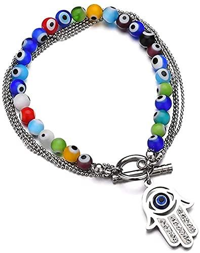 Beads Multi-capa Pulsera de ojo malvada - Bendición de la Cabalá Lucky Fatima Hamsa Hamsa Pulseras de la mano para las mujeres, niñas, colorido abalorios amuleto amistad pulsera para la protección Chy