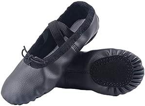 Nexete Leather Shoes Split-Sole Slipper Flats Ballet Dance Shoes for Toddler Girl Boy Kid (Toddler 7.5 M/EU 23, Classic Black)