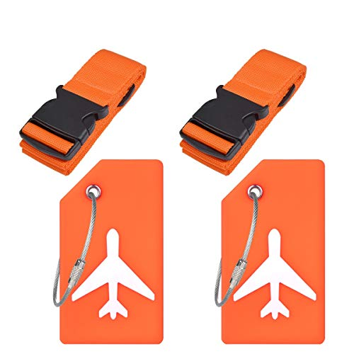 Ovener Luggage Accessories Luggage Straps/Luggage Tags Name ID Card-Orange 2Set