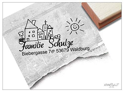 Stempel personalisiert - Adressstempel FAMILIENHAUS III individuell - Familienstempel Name Adresse Anschrift Haus Geschenk Post - zAcheR-fineT