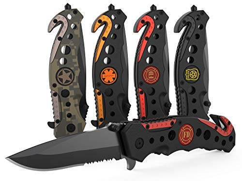 3-in-1 Fire & Rescue Tactical Knife for Firefighters and First Responders with Glass Breaker, Seatbelt Cutter and Steel Serrated Blade