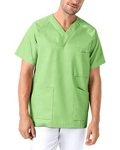 CLINIC DRESS Schlupfkasack - Kasack Damen und Herren bunt für Pflege und Altenpflege, Ranglanarm und Brusttasche, 95 Grad Wäsche apfelgrün L