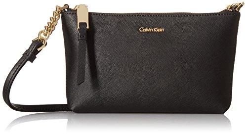 Calvin Klein Hayden Key Item Saffiano Top Zip Chain Crossbody, Black/Gold