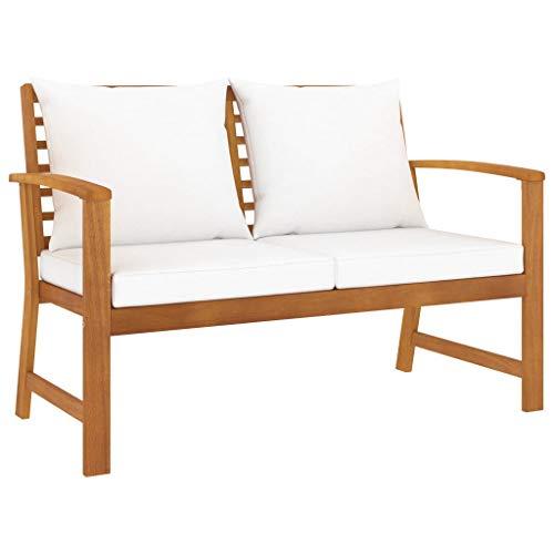 vidaXL - Panca da giardino in legno di acacia massiccio, 120 cm, con cuscino bianco crema