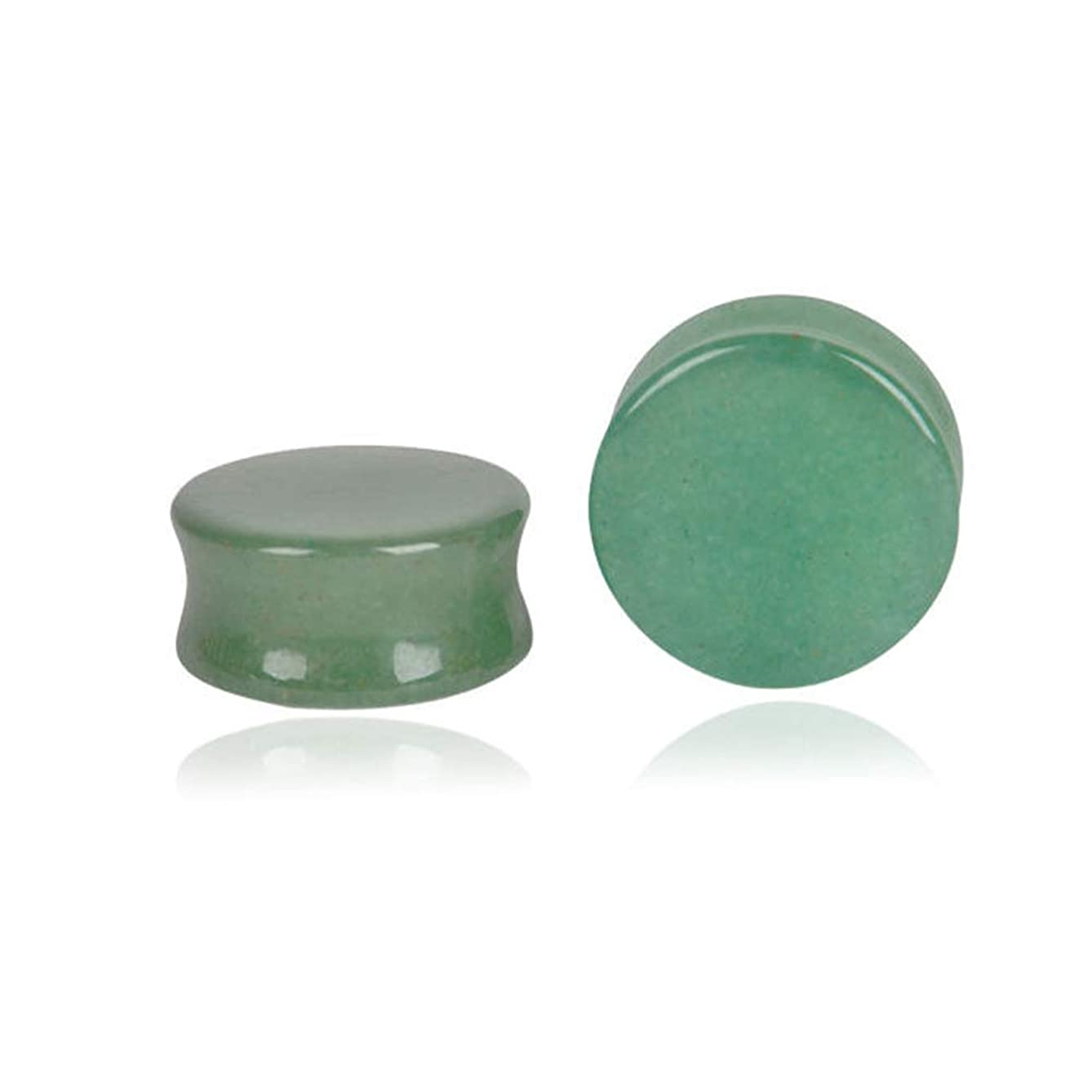 HQLA Green Jade Natural Stone Double Flared Flesh Plugs Tunnels Ear Gauges Stretcher Expander Kit 1 Pair