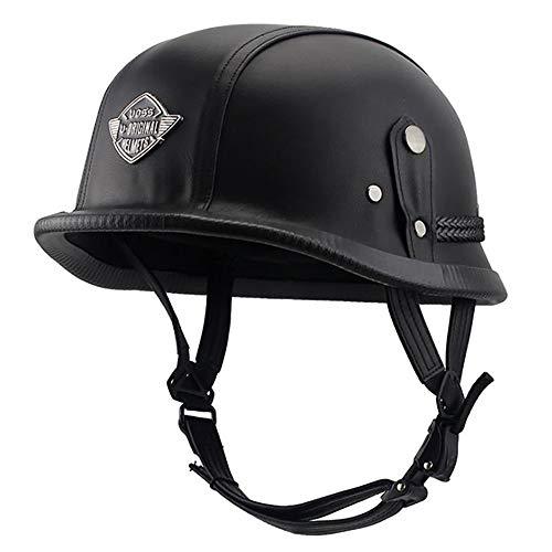 XQY Open Face Helmet Motorcycle Half Helmet Leather Retro German Style Scooter Cruiser Chopper Anti-Collision DOT/ECE Certification,Black,XL
