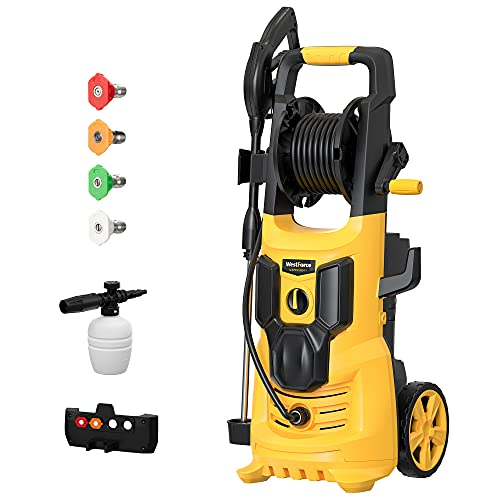 WestForce 3500 PSI Electric Pressure Washer, 1.85 GPM 1900 W Electric Power Washer, High-Pressure Cleaner Machine with 4 Nozzles, Hose Reel, Foam Bottle for Homes, Cars, Driveways, Patios