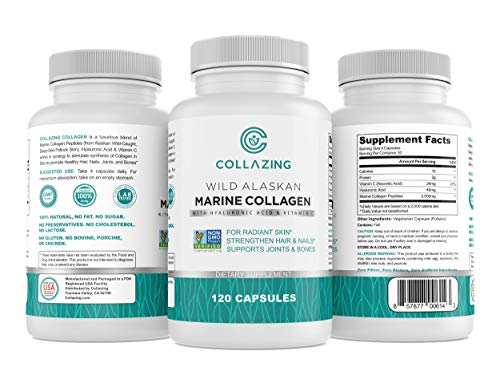 Collazing - Alaskan Wild-Caught Marine Collagen Protein Peptides with Hyaluronic Acid and Vitamin C - for Radiant Skin, Hair, Nails. Joints, & Bones - 120 Capsules-30 Days Supply