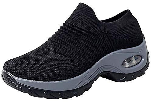 2020 Zapatos cuña Mujer Zapatillas de Deportivas Plataforma Mocasines Primavera Verano Planas Ligero Tacon Sneakers Cómodos Zapatos para Mujer, Black,36 EU