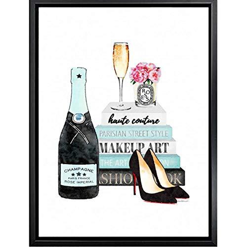 LLXHG Mode kunst boek High Heels Poster en afdrukken champagne Poster Rose Parfum Canvas Schilderij voor de woonkamer Decoratie Foto-40X60cm Geen lijst