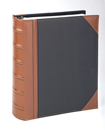 """Executive Binder, English Leather 2 Tone with Stitching and Ribbed Spine, Heavy Duty 1"""" Inch 3 D-Ring with Buster, Holds 225 8.5""""x 11"""" Sheets Black"""