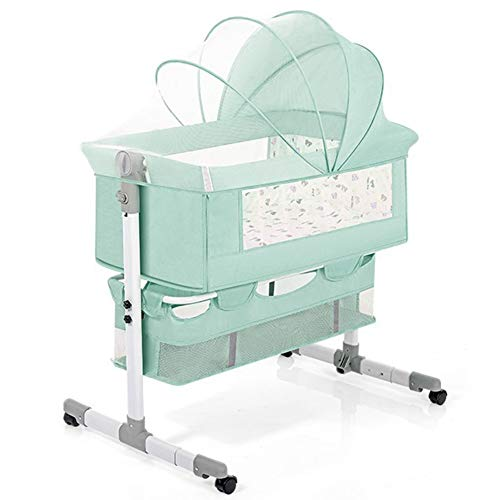 Zatnec Minicuna Plegable Cuna De Colecho para Recién Nacidos con Una Gran Cesta De Almacenamiento, Altura Ajustable, Malla Transpirable (Color : Green)