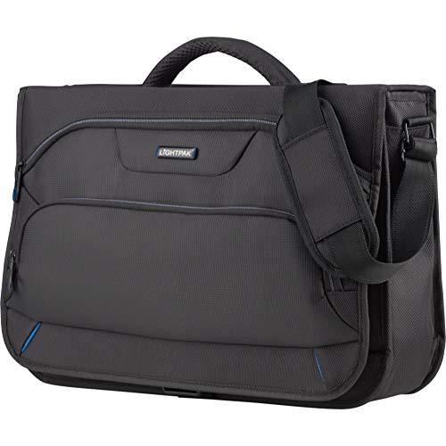 Lightpak Messengerbag SOLAR, Tragetasche aus Polyester, Business Umhängetasche mit Organizer-Fach Koffer, 43 cm, 9L, Schwarz