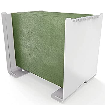ALBEN Plastic Hanging File Desktop Organizer - Minimalistic Desktop File Hanging Holder for Letter-Sized Folder Access and Storage - Perfect for Home & Office - Portable and Easy to Assemble - White